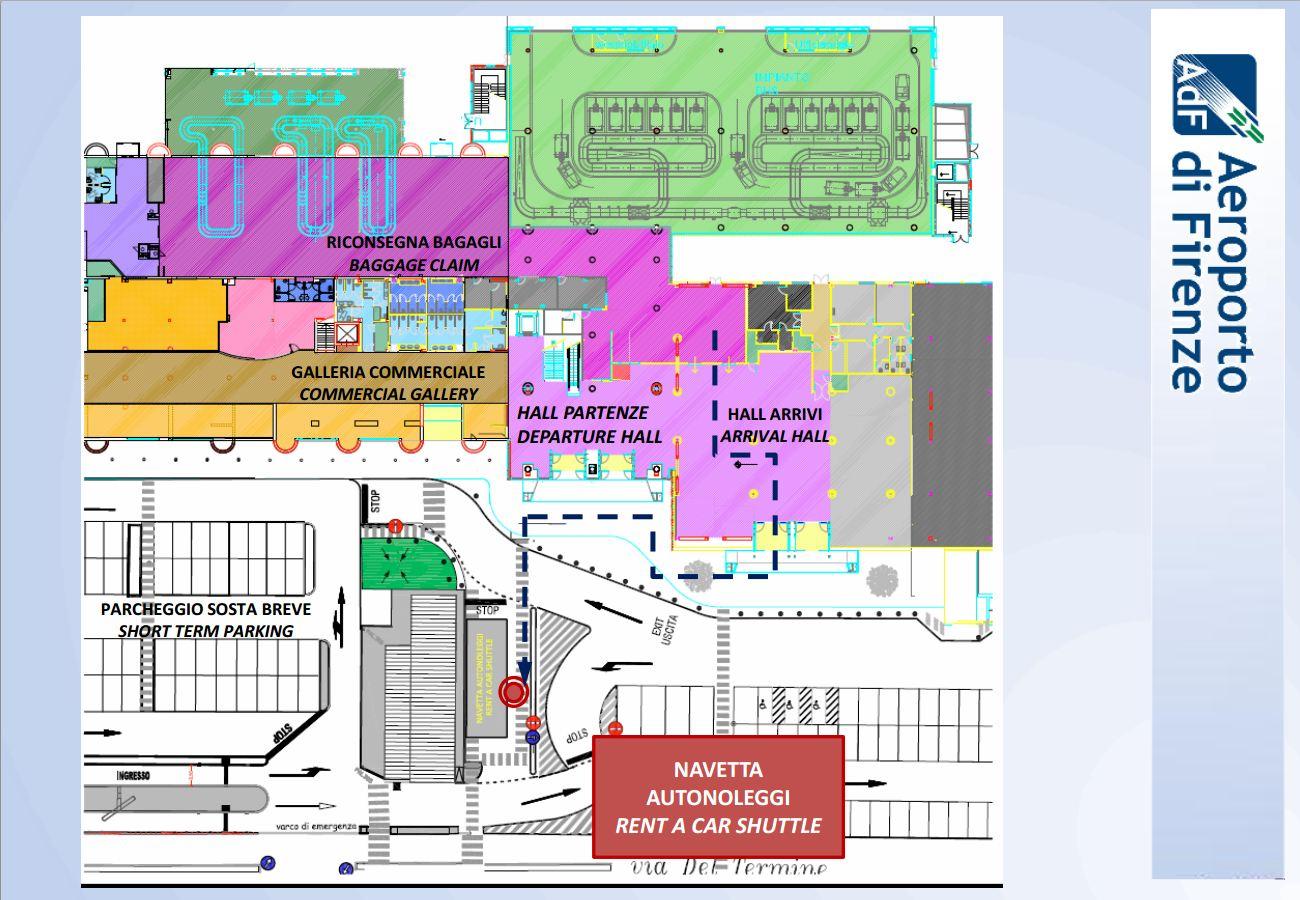 Mapa para a área o estacionamento dos carros para aluguel