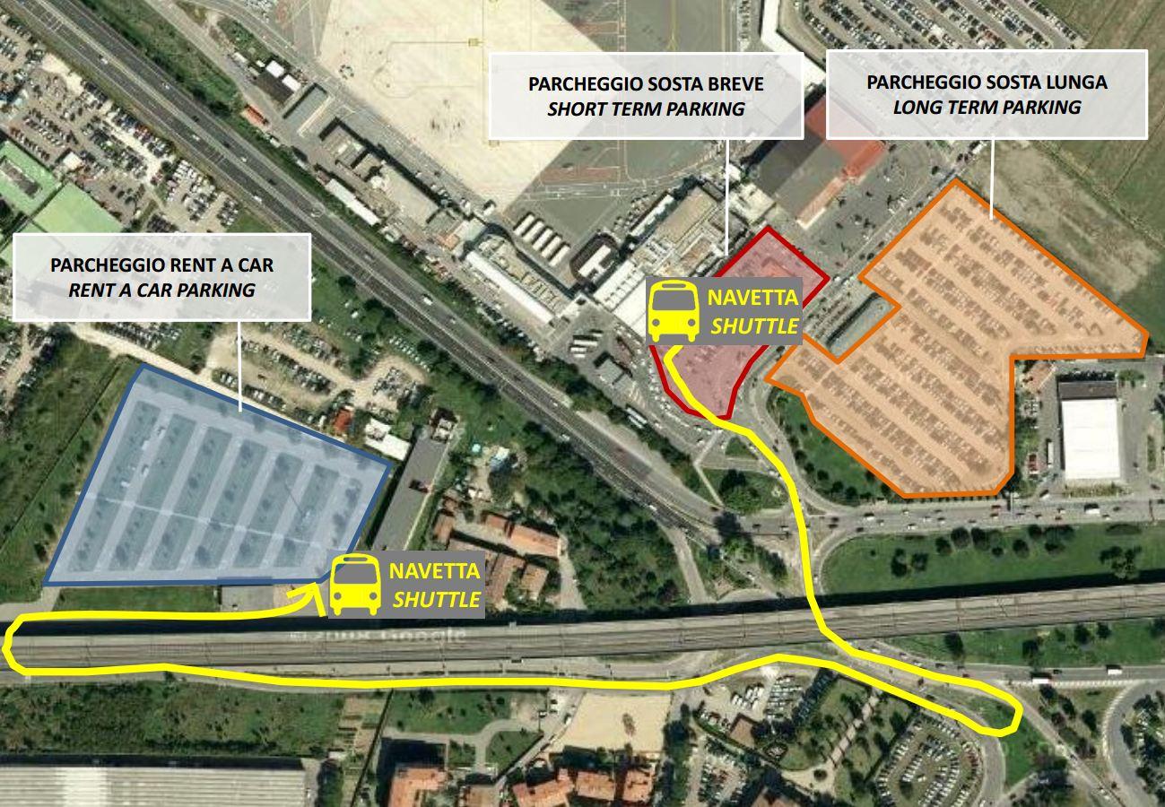 """mapa para a """"navetta"""", ônibus gratuito para a área de carros de aluguel"""