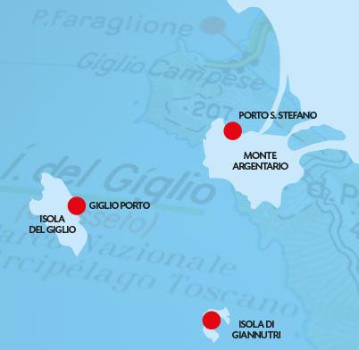Mapa do site: www.isoladelgiglio.it