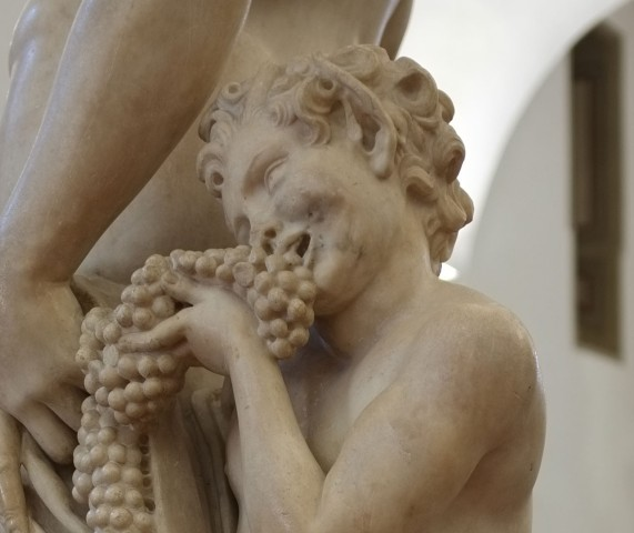 Detalhe da estátua de Bacco, que fica no Museo del Bargello