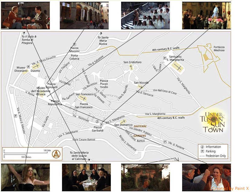 mapa dos locais do filme em Cortona