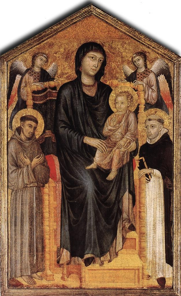 Madonna_Enthroned_with_the_Child_St_Francis_St_Domenico_and_two_Angels,_Cimabue