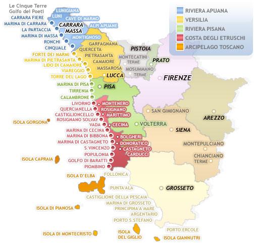 mapa das praias da Toscana
