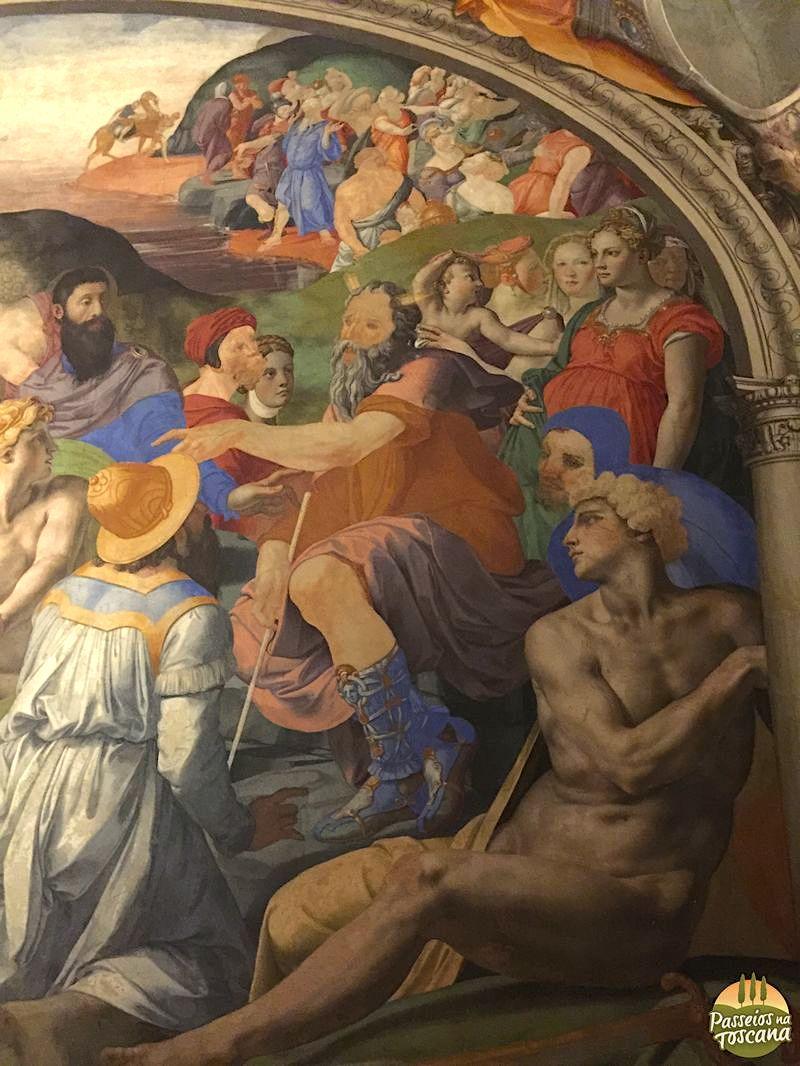 Na foto, afresco da Capela de Eleonora, veja o autor Bronzino, no detalhe da foto, com roupa e capuz azul. Eleonroa é a mulher grávida sobre ele.