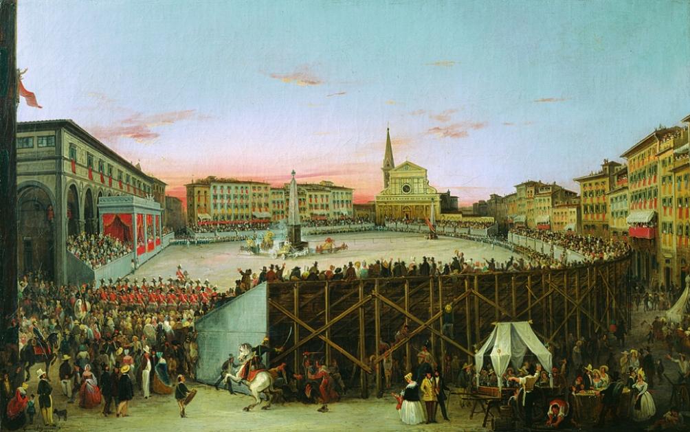 Giovanni Signorini (Firenze 1808-1862) Il Palio dei cocchi in Santa Maria Novella, 1844