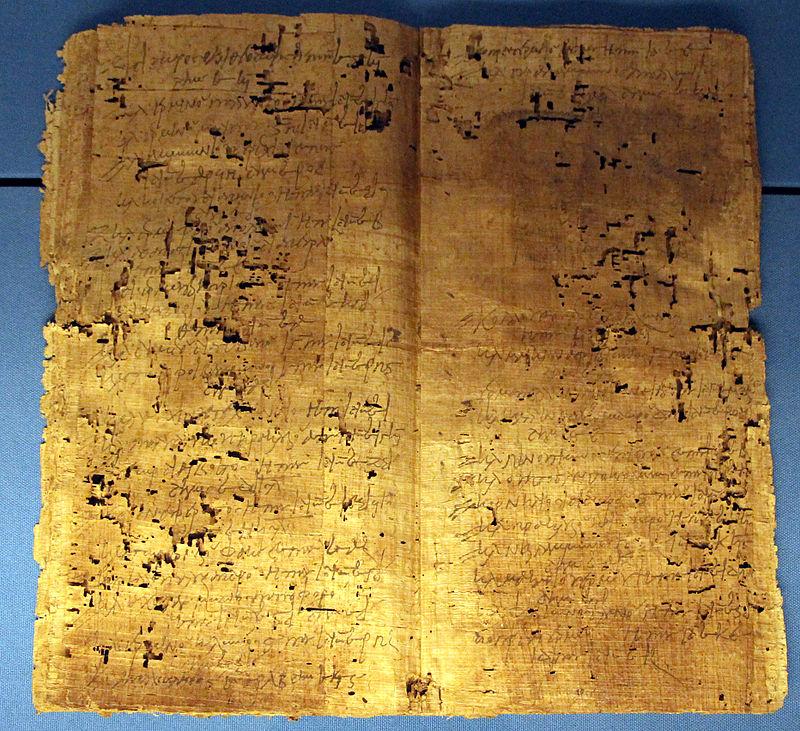 Registro fondiario in papiro a forma di quaderno, P. Flor. I 71, da hermopolis magna, IV sec dc Foto Wikipedia Commons