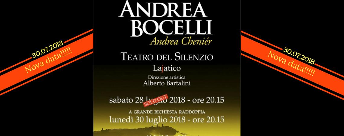 EXTRA! Nova data para o Show do Andrea Bocelli 2018!